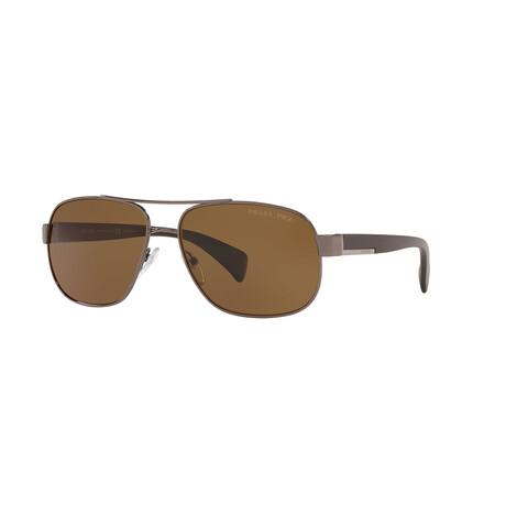 Prada // Men's PR52PS-5AV5Y161 Polarized Sunglasses // Gunmetal + Brown