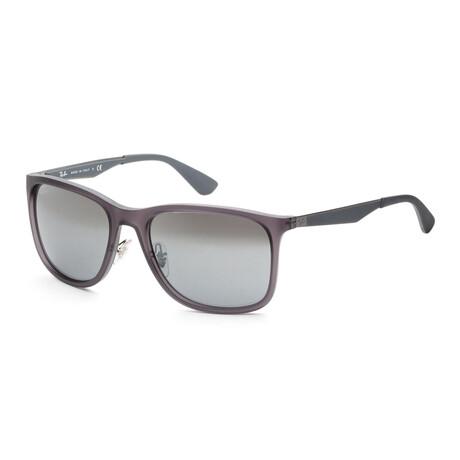 Ray-Ban // Men's RB4313-63798858 Sunglasses // Matte Transparent Gray + Blue