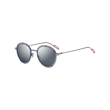 Christian Dior// Men's Round Sunglasses // Ruthenium + Silver
