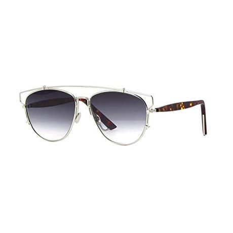 Christian Dior// Women Oval Sunglasses // Silver Havana + Gray