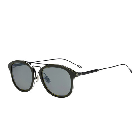 Christian Dior// Men's Round Sunglasses // Matte Black Khaki + Brown