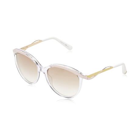 Christian Dior// Women Cat Eye Sunglasses // Crystal Pink Yellow + Brown