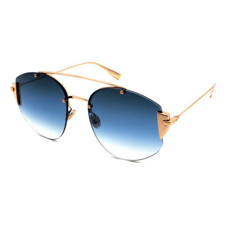 Dior // Men's STRONGER-000 Pilot Sunglasses // Blue + Rose Gold