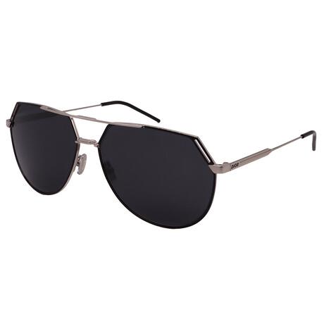Men's RIDING-84J Aviator Sunglasses // Silver + Black