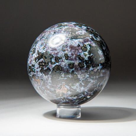 Genuine Polished Merlinite Sphere + Acrylic Display Stand // V2