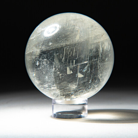 Genuine Polished Optical Calcite Sphere + Acrylic Display Stand