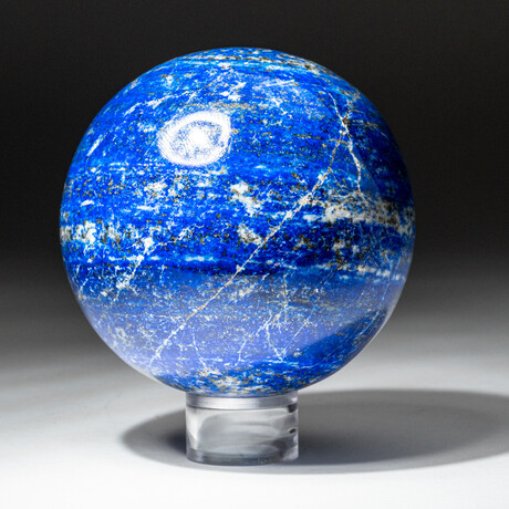 Genuine Polished Lapis Lazuli Sphere + Acrylic Display Stand // V6