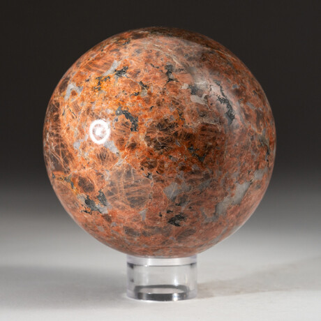 Genuine Polished Orange Moonstone + Acrylic Display Stand // V1