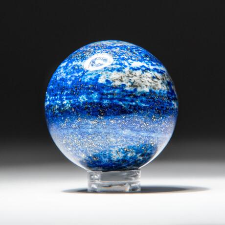 Genuine Polished Lapis Lazuli Sphere + Acrylic Display Stand // V1