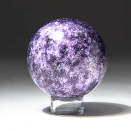 Genuine Polished Lepidolite Sphere + Acrylic Display Stand // V1
