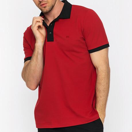 Valencia Short Sleeve Polo // Bordeaux + Black (S)