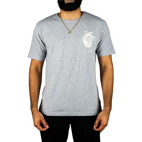 Heart + Bones Screen Print Tee-Shirt // Heather Gray (S)