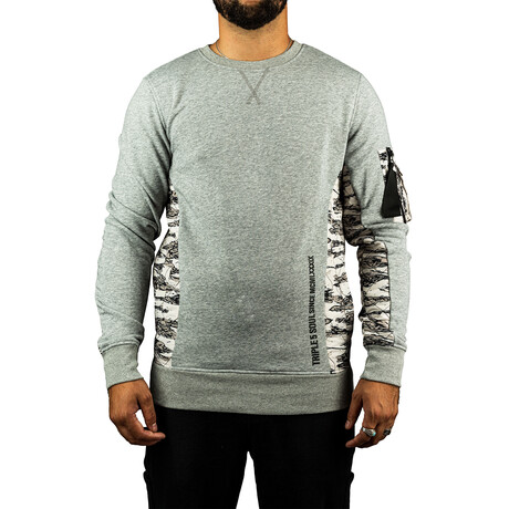 Quilted Popover Crew Neck Top // Heather Gray (S)