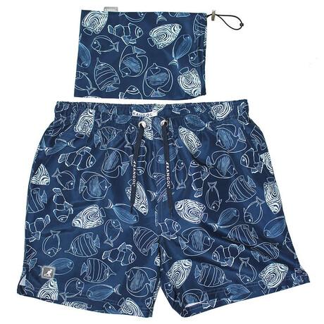 Fish Printed Swim Short // Navy (S)