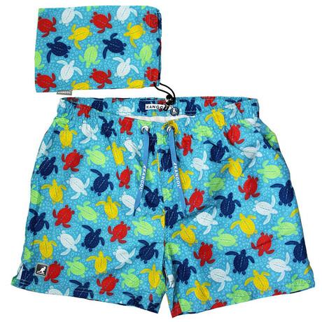 Sea Turtle Printed Swim Short // Pastel Blue (S)