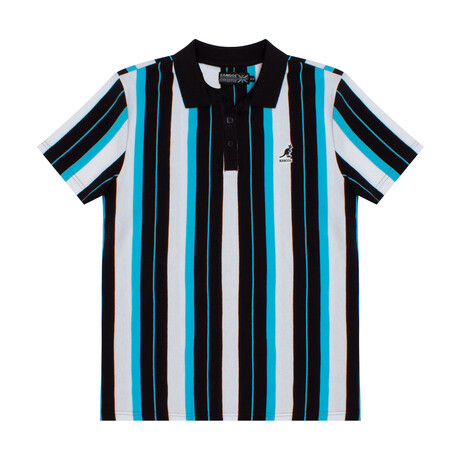 Yarn Dyed Vertical Stripe Polo // Black Blue Combo (S)