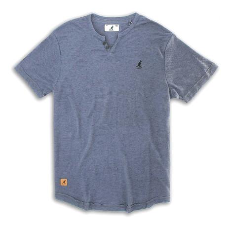 Skip Needle V Notch Short Sleeve Knit Top // Raven Gray (S)