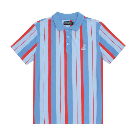 Yarn Dyed Vertical Stripe Polo // Denim Red Combo (S)