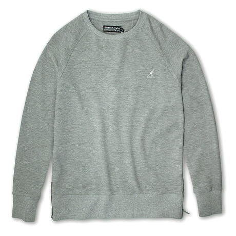 Side Zip French Terry Popover Crewneck // Gray Ottoman (S)