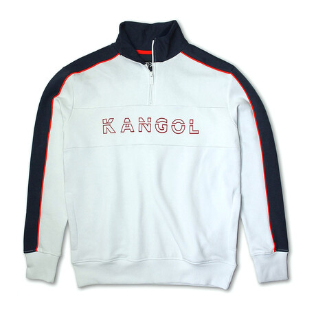 3D Kangol 1/4 Zip Fleece Pullover // White + Navy (S)