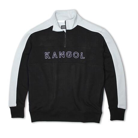3D Kangol 1/4 Zip Fleece Pullover // Black + Gray (S)