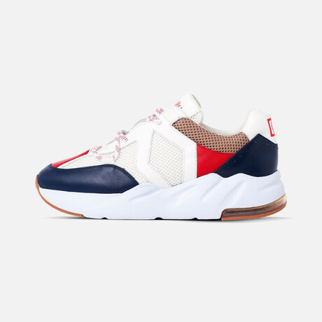 Men's Boom Classic Sneaker // White + Red + Blue + Beige (Men's Euro Size 40)