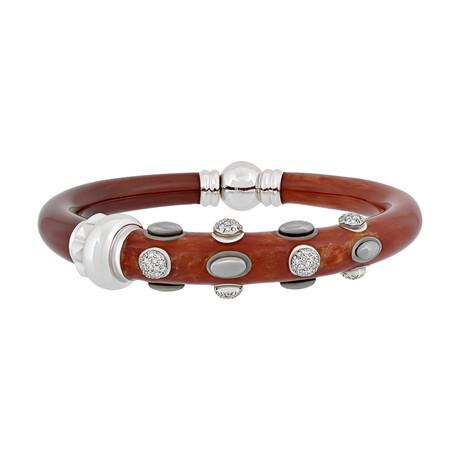 "Nouvelle Bague 18k White Gold + Diamond + Red Enamel Bangle Bracelet // 6.5"""