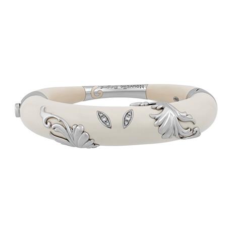 "Nouvelle Bague 18k White Gold + Diamond + White Enamel Bangle Bracelet // 6.75"""