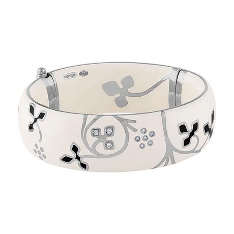 "Nouvelle Bague 18k White Gold + Diamond + White Enamel Bangle Bracelet // 6.5"""