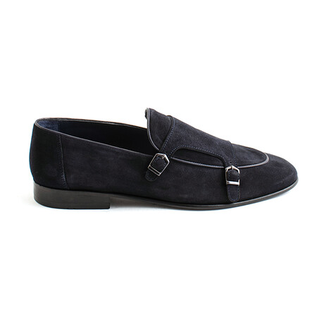 Cepeda Buckle Loafers // Navy Blue Suede (Euro 40)