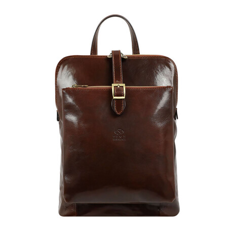 Emma // Women's Convertible Leather Backpack // Dark Brown
