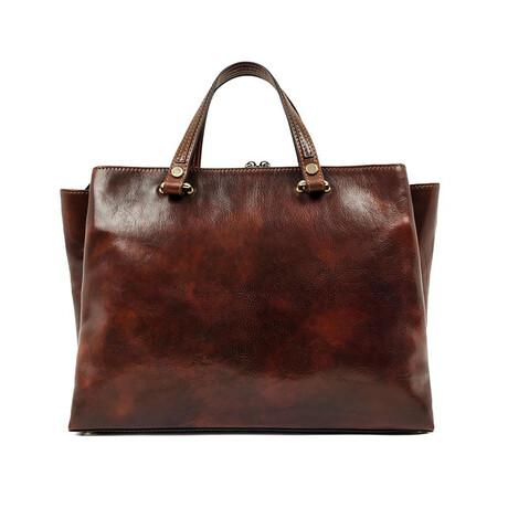 The Scarlet Letter // Women's Leather Tote Shoulder Bag // Brown