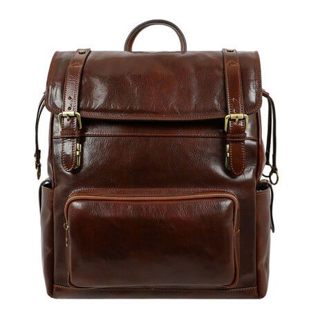 The Good Earth // Leather Backpack // Dark Brown