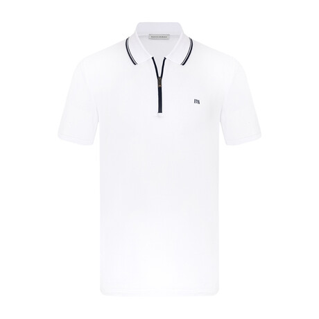Boston Short Sleeve Polo // White + Navy (S)
