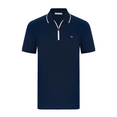Denver Short Sleeve Polo // Navy + White (S)