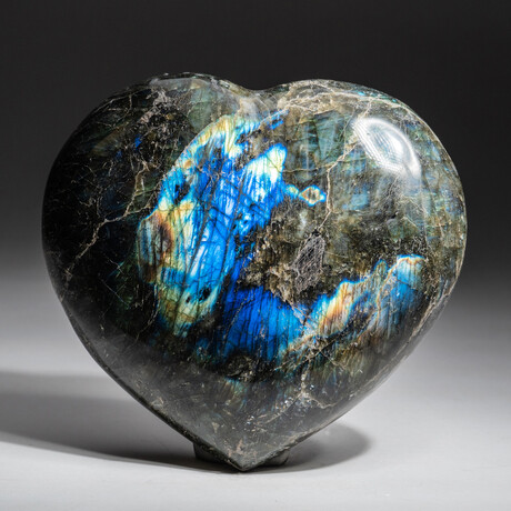 Genuine Polished Labradorite Heart + Acrylic Display Stand // V3