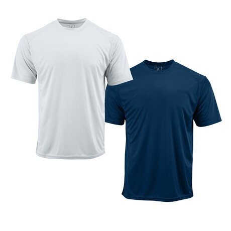 Performance Basics Dri-Tech Tees // White + Navy // Pack of 2 (S)