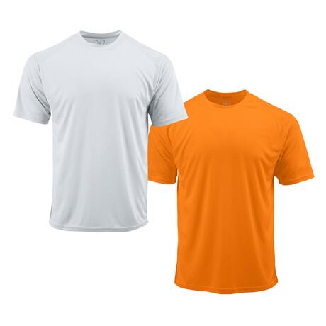Performance Basics Dri-Tech Tees // White + Orange // Pack of 2 (S)