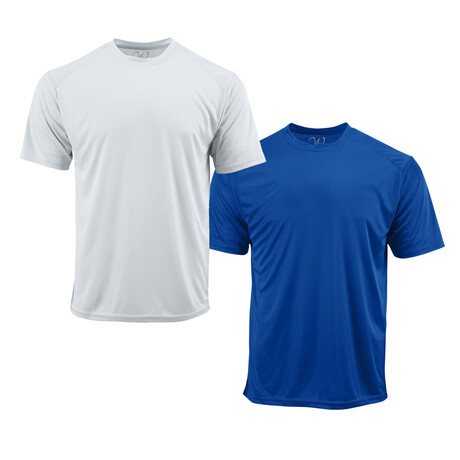 Performance Basics Dri-Tech Tees // White + Royal Blue // Pack of 2 (S)
