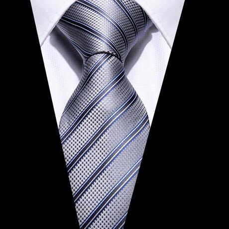 Yale Silk Tie // Silver