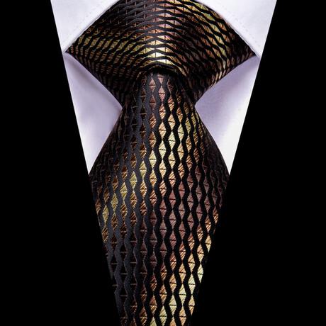 Ernest Silk Tie // Black + Brown