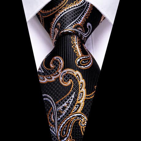 Rolan Silk Tie // Black + Gold