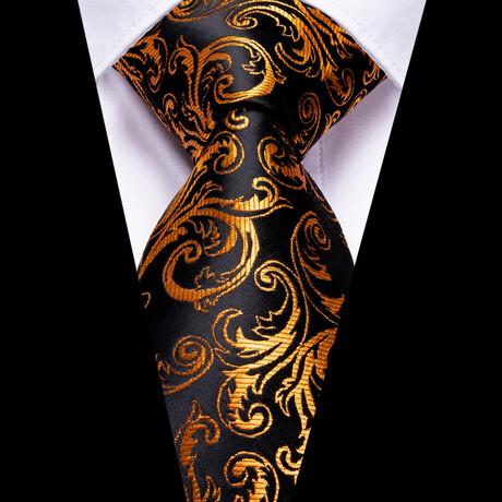 Alice Silk Tie // Black + Orange