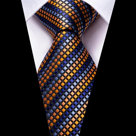 Riker Silk Tie // Orange + Blue