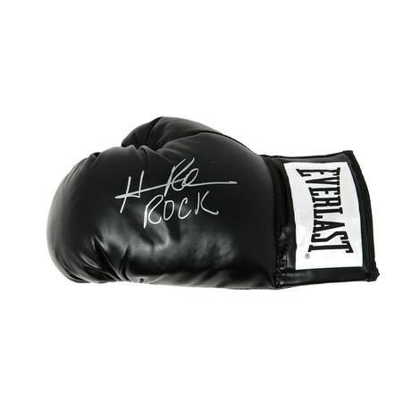 "Hasim Rahman // Signed Everlast Boxing Glove // Black // ""Rock"" Inscription"