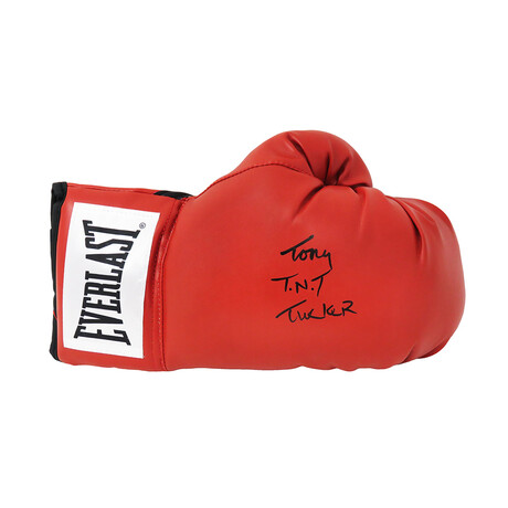 "Tony Tucker // Signed Everlast Boxing Glove // Red // ""TNT"" Inscription"