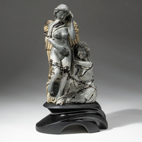 Genuine Polished Hand Carved Picasso Jasper Angels + Custom Obsidian Base