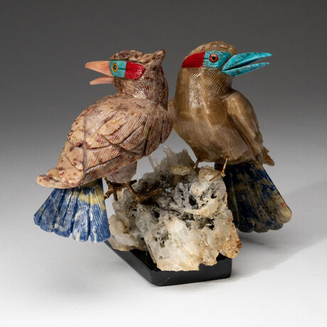 Two Genuine Polished Hand Carved Birds on Crystal Cluster