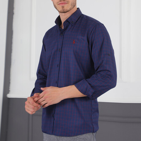 Fernando Button Down Shirt // Dark Blue + Burgundy (Small)