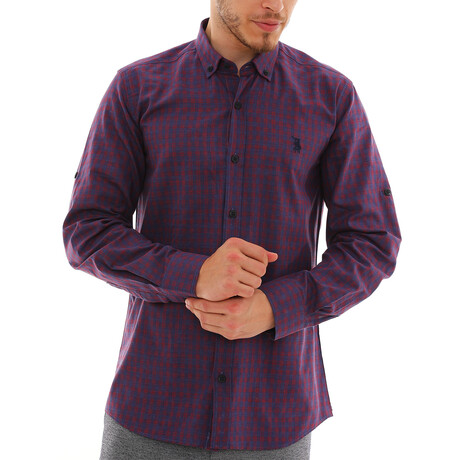 Kilian Button Down Shirt // Dark Blue + Burgundy (Small)